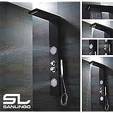 Aluminium Colonne de Douche de Pluie Thermostat Massage Cascade Noir Sanlingo