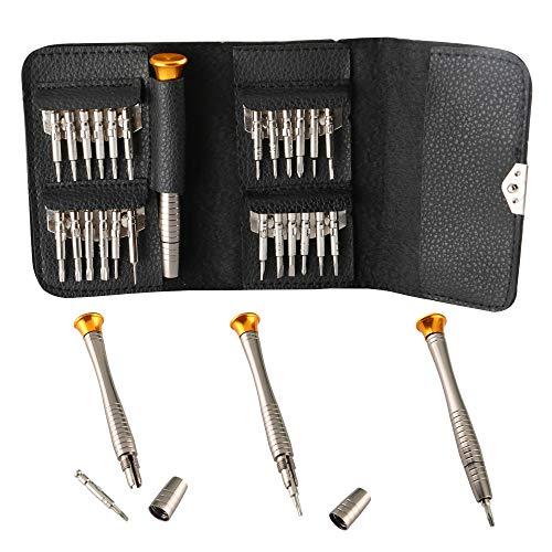 KINYOO0 25-teilig Schraubenzieher Set, Mini Schraubendreher geeignet für die Wartung: Handy, PC Laptop, Tablett, iPad, Uhr, Autoschlüssel, mit schwarzer Tasche.