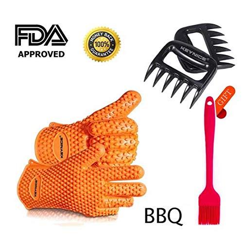 Keynice BBQ Silikonhandschuhe + Fleischklauen zum Schneiden von Fleisch (Pulled-Pork). Ofenhandschuhe aus hitzebeständigem, wasserdichtem, lebensmittelgetragenem Silikon zum Kochen, Backen und Kochen
