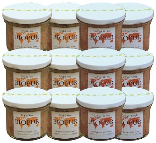 Biopur Mix-Set 12 x 100g Sorten: je 6xRind und 6xGeflügel Bio-Katzenfutter im GLAS, 1er Pack (1 x 1.2 kg) -
