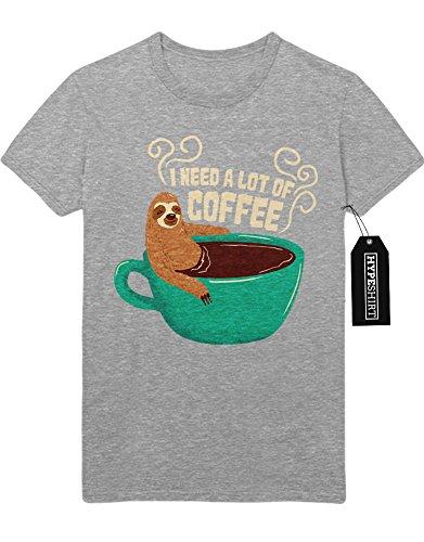 T-Shirt I Need A Lot Of Coffee Sloth Faultier Funny Hipster Morgen Muffel Kaffee Esspresso Latte Macchiato H970009 Grau