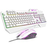 havit Gaming Tastatur und Maus Set, LED Hintergrundbeleuchtung QWERTZ (DE-Layout), 7 Tasten Gaming Maus mit 4 LEDs als Beleuchtung (800/1200 / 1600/2400 DPI einstellbar) (Weiß)