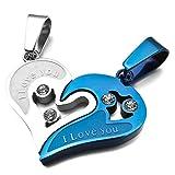 MunkiMix 2 PCS Edelstahl Anhänger Halskette CZ Zirkon Zirkonia Silber Ton Blau Herz Lieben Valentine Paar Paare His & Hers Set Herren,Damen mit 50cm 58cm Kette