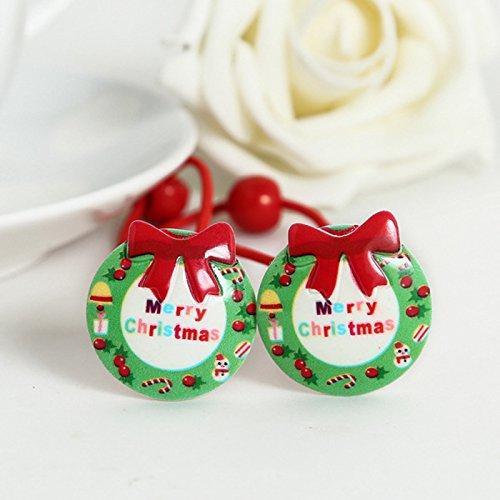 weimay 2pcs Mädchen Lindas Kinder Weihnachten des Ohr Haar Krawatten Bowties Saiten Inhaber Pferdeschwanz - Banda de regalo rot