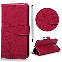 Nokia Lumia 650 Case, Lanveni [Wallet Case] Magnetic Flip Book Style Cover, High Quality Classic Tree Flower Butterfly Pattern Premium PU Leather Folding Wallet Case With [Wrist Strap] & [Credit Card Slots] Kickstand Function Folio Protective Shell Perfec
