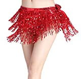 LaoZanA Donna Costume danza del ventre Hip sciarpa paillettes di avvolgere cintura gonna Taglia unica Rosso