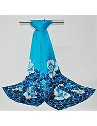 FLYRCX Primavera y otoño señoras pañuelo de seda pintado a mano en seda de morera verano