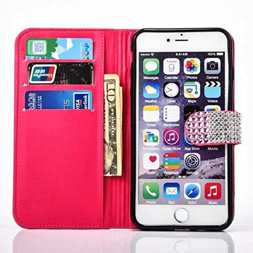 """iPhone 7Plus Handytasche, iPhone 7Plus Glitzer Hülle, CLTPY Shiny Rhinestone PU Ledermappe Fall mit Kartenhalter & Magnetverschluss, Mehrfarbiges Mädchen 3D Schale Etui für 5.5"""" Apple iPhone 7Plus (No Rosa C"""