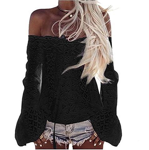 Longwu Femme Sexy épaule Word Dentelle Casual lâche Shirt Noir-L