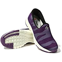Sagma Women's Grey-Purple Breathable Walking Casual Slipon Moccasin Shoes (Size UK/India 8)