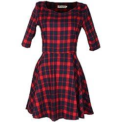 vovotrade Mujer Vestido rojo de la tela escocesa de moda de verano de la media manga (M, rojo)
