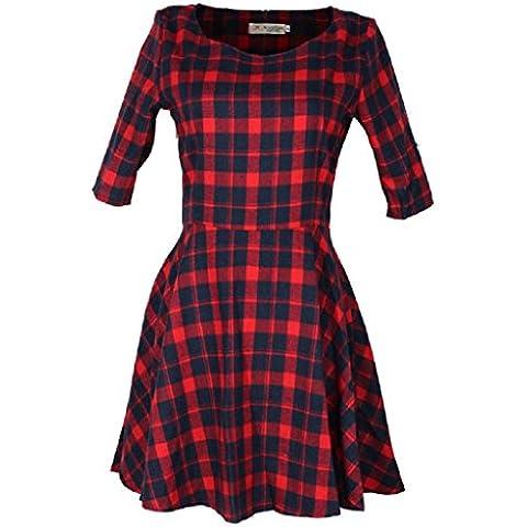 vovotrade Mujer Vestido rojo de la tela escocesa de moda de verano de la media manga