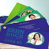 Geburtstagseinladungen 40 Vorlagen, Zehnhoch 200 Karten, Kartenfächer 210x80 inkl. weiße Umschläge, Blau