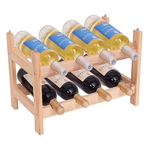 Blitzzauber 24 Étagère à Vin Casier à Bouteille en Bois de Pin Robuste Modulable Rangement pour 8 Bouteilles 43 x 25 x 31 CM