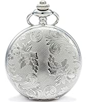 SEWOR Sliver Flowers Vintage Quartz Pocket Watch Shell Dial With Two Type Chain(Leather+Metal)