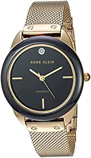 Anne Klein Womens Quartz Watch, Analog Display and Stainless Steel Strap AK3258BKGB
