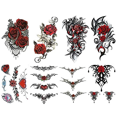 8 Sinnliche und sexy Tribal Temporary Tattoos Woman (Größe 15x21cm). 19 Tattoos mit roter Rosenblüte, provokativ und tribal, um die Zeit eines Abends zu verführen