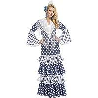 My Other Me - Disfraz de flamenca soleá para mujer, color azul, S (Viving Costumes 204381)