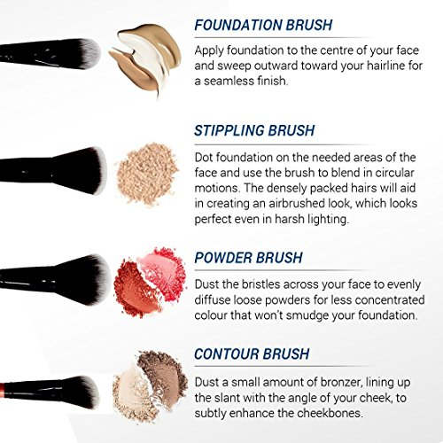 Makeup Brushes Set- Essential Kit - 12 Make-up Brushes for Real Makeup Techniques With Gorgeous Designer Case - Top Choice of Pro Makeup Artists - Vegan Synthetic Bristles That Last Longer, Apply Better Makeup, Creating Defined Eye Looks & Make You Look F