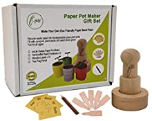 e-pots Paper Pot Maker Gift Set Plastic free for gardeners. Makes fun biodegradable plant pots from scrap paper. Plus wooden labels, seed envelopes and twig pencil