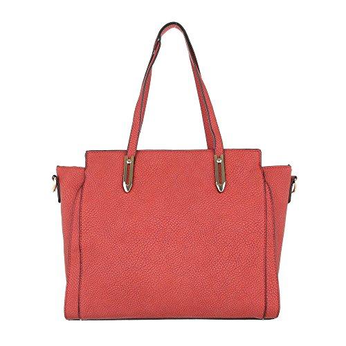 iTal-dEsiGn Damentasche Mittelgroße Schultertasche Handtasche Used Optik Kunstleder TA-G0081 Rot