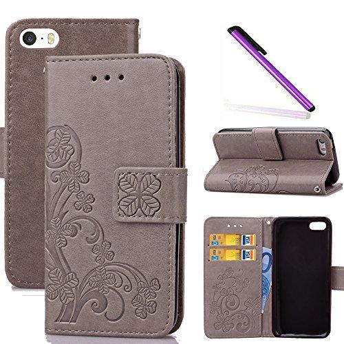 huge discount bee8d e5151 COTDINFOR iPhone 5C Funda trébol Cierre Magnético Billetera con Tapa para  Tarjetas de Cárcasa Elegante Retro Suave PU Cuero Caso Protectora Case ...