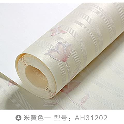 Yifom Stampa floreale tessuto non-carta da parati camera da letto accogliente salotto TV parete di sfondo carta 3D strisce semplice,giallo