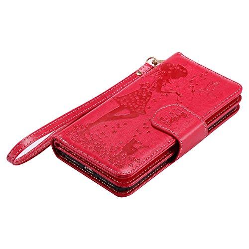 Custodia Apple iPhone 7 Plus, ISAKEN iPhone 7 Plus Flip Cover con Strap, Elegante Sbalzato Embossed Design in Pelle Sintetica Ecopelle PU Case Cover Protettiva Flip Portafoglio Case Cover Protezione C ragazza: rossa