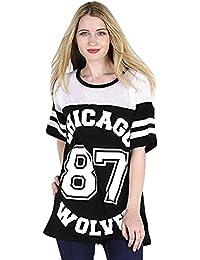 CHICAGO 87 WOLVES LADIES MESH BASEBALL LANGARM SHIRT TOP ÜBERGRÖSSE BAGGY VARSITY