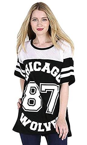 T-shirt de baseball long et ample pour femme Motifs Chicago 87 Wolves Style universitaire Noir Noir
