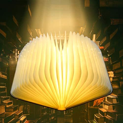 Buchlampe LED, 360° Faltende Hölzerne Buch Lampen Leselicht, USB Wiederaufladbar Dekorative Lichter Warmweiß DuPont Papier Stimmungslicht Dekolampen Nachttischlampe, Ideal für Geschenk