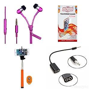 KONARRK 4 in 1 Combo of Selfie Stick Orange, Zipper Earphones Pink, Handsfree Splitter Black and Tempered Glass for MOTOROLA MOTOE3