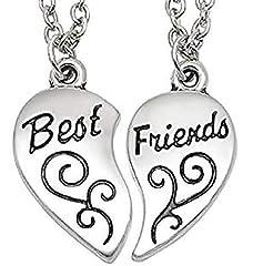 Idea Regalo - Collana Best Friends Diviso in Due Parti - Migliori Amici/Amiche (Cuore Motivo Inciso - 2 Pezzi)