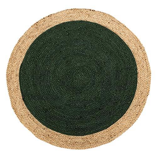 Alfombra Redonda de Rafia Natural Verde rústica para salón de 120 cm Bretaña - LOLAhome