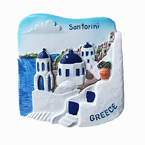 Aimant de réfrigérateur 3D Santorin Grèce souvenir, décoration pour la maison et la cuis