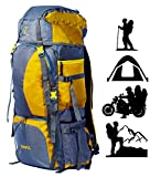 TRAWOC 60L Water Proof Travel Backpack for Outdoor Hiking Trekking - HK001 Yellow ( 1 Year Warranty )