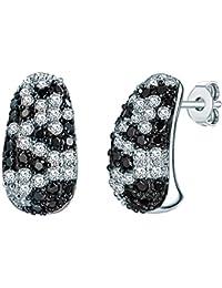 Rafaela Donata Damen-Creolen Classic Collection Zirkonia weiß / schwarz 925 Sterling Silber 60837036