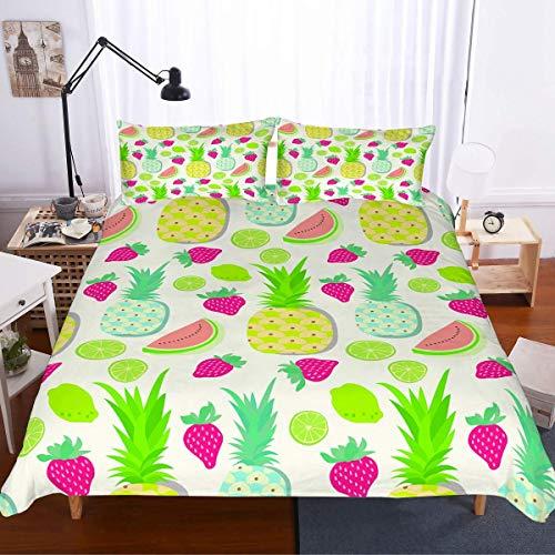 SUNTIG Mädchen Berry Theme Bettwäsche Set 3D Rot Grün Erdbeeren Gedruckt Gelb Punkte Weiß Bettbezug Set 3 Stück (1 Bettbezug 2 Kissenbezüge) für Kinder No Tröster -