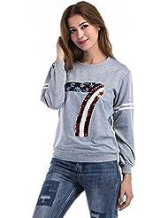 Gaoxu Mujer y camisetas de manga larga gris con camisetas,Gray,S.