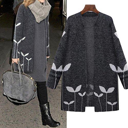 Donna Cappotto XL-5XL,Amlaiworld Cappotto lungo Giacche cascata Cardigan di maglia Grigio scuro