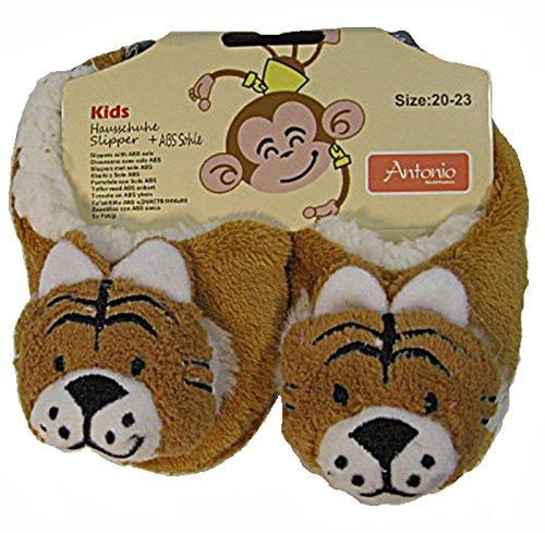 Kinder Tier Hausschuhe, ABS Sohle, Plüsch Hausschuhe Tiger