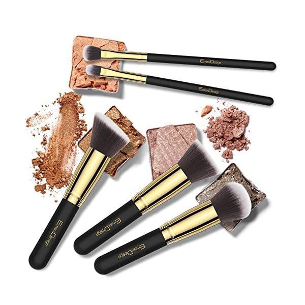 EmaxDesign Juego de brochas de maquillaje14 piezas maquillaje profesional cepillo Fundación mezcla cara de ojos Corrector Líquido Maquillaje, polvos, crema (Golden negro)