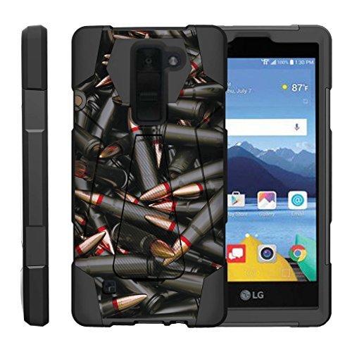 turtlearmor | Kompatibel für LG K8V Fall | LG K8V Fall | VS500[dynamisch Shell] Impact Proof Hard Ständer Hybrid Shock Silikon Cover Militär Krieg Armee Camo Design -, Black Bullets -