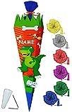 Unbekannt BASTELSET Schultüte -  Dinosaurier - Dino  - 85 cm - incl. Schleife + Name - mit / ohne Kunststoff Spitze - Zuckertüte - Set zum selber Basteln - 6 eckig / ..