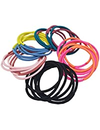 Evolution Elastic Rubber Band Metal Free Cool Colors Soft Fabric Hair Ties For Women (Pack Of 30)