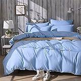 LUYR.R Europäische Stil Bett Auskleidungen Einfache super weiche Einfarbig Knopfart Vier Sätze Baumwollbettwäsche Bettwäsche, 220cm