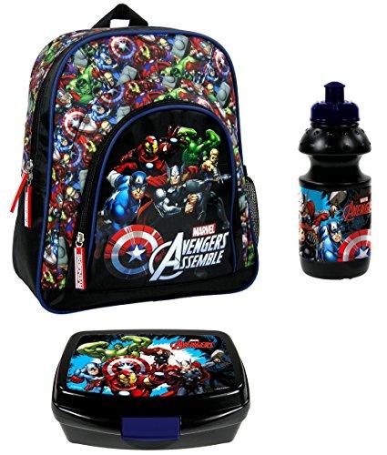 Avengers SET 4 teilig Kindergartenrucksack Kindergartentasche inkl. Trinkflasche und Brotdose / sehr leicht / geräumig / 300 Gramm / 30x24x12 cm / Kinderrucksack / inkl. Sticker von Maximustrade