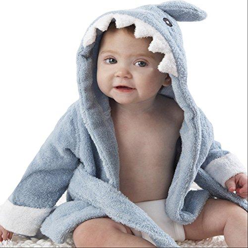 FAVOLOOK Baby Jungen (0-24 Monate) Bademantel Gr. XS, Blue Shark