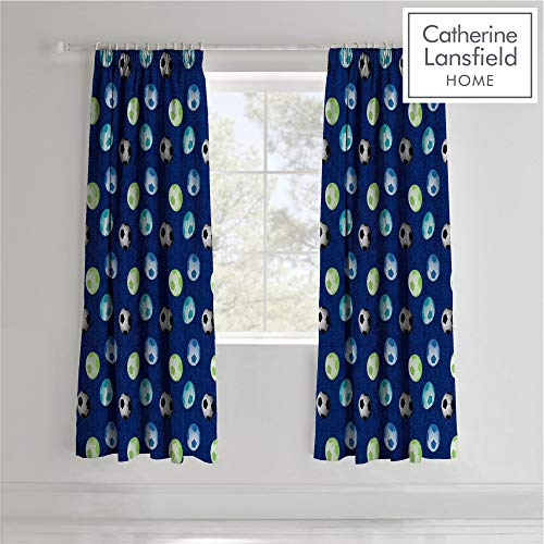 7a462bc55997 Catherine Lansfield Football Easy Care Pencil Pleat Curtains Blue, 66x72  Inch