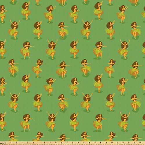 ABAKUHAUS Hawaii Microfaser Stoff als Meterware, Mädchen tanzen Grass Skirts, DIY Bastler Stoff für Dekorationszwecke, 10M (160x1000cm), Mehrfarbig